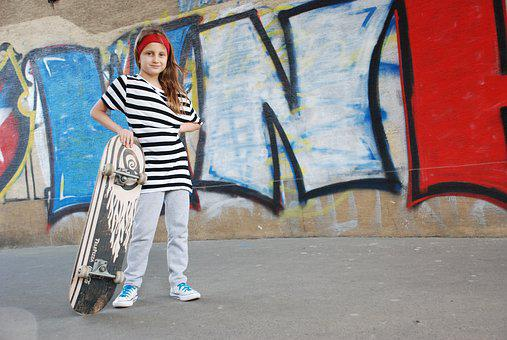 Skateboard, Girl, Skate, Street, Baby Photo, Summer