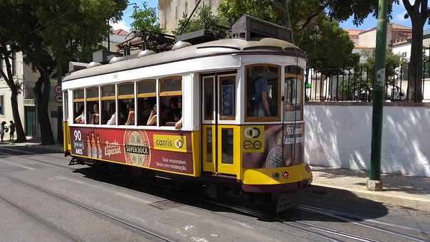 Tram, Lisbon, Yellow, Lisboa, Capital, Portugal
