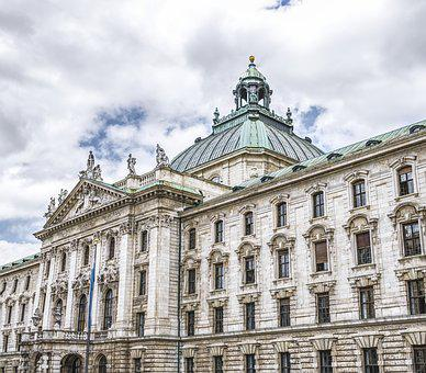 Munich, Bavaria, District Court, Facade, Flag