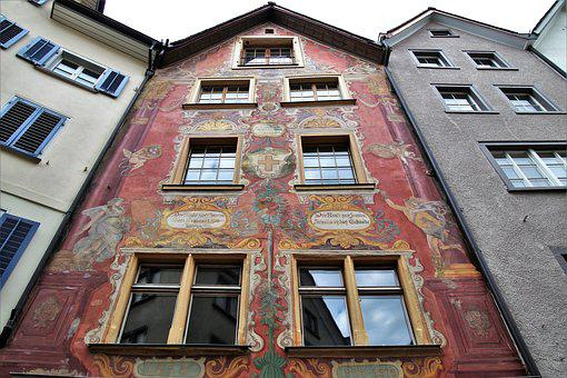 Kamienica, Old Building, Frescoes, Painted, Monument