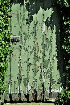 Door, Wood, Peeling Paint, Garden