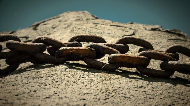 Rock, Iron Chain, Iron, Stone, Monument