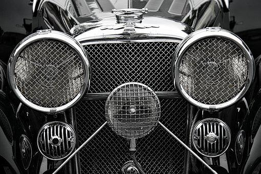 Jaguar, Car, Classic, Vintage, Headlights, Radiator