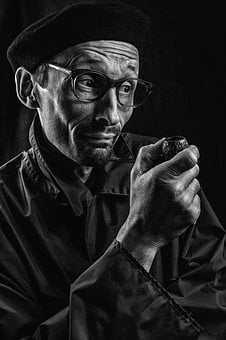 Portrait, Specs, Mood, Thinking, Men's, Pipe