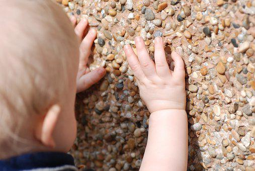 Child, Toddler, Wall, Stones, Exploring, Outside, Touch