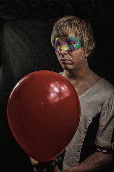 Men's, Balloons, Masked, Red, Balloon, Emotion, Sorry