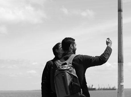 Pair, Love, Romantic, Selfie, Black And White, S W