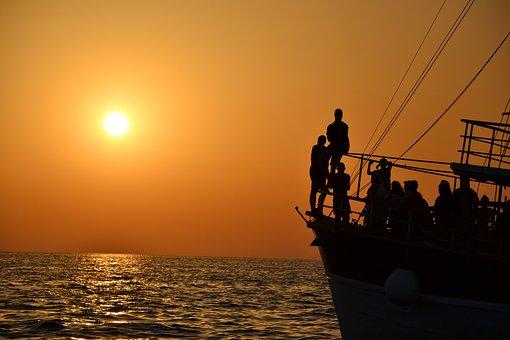 Sunset, Sea, Ship, Summer, Croatia, Holidays, Surface