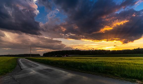 Sunset, Evening Sky, Nature, Cloudy, Dramatic Clouds
