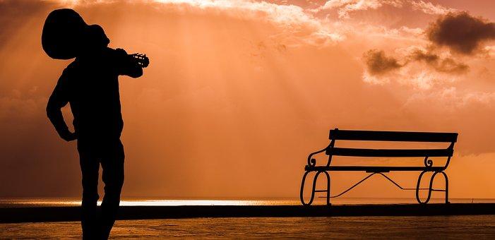 Guitar, Guitarist, Musician, Sunset, Bench, Music