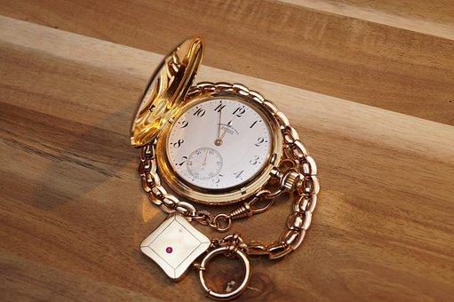 Clock, Onion, Pocket Watch, Jewellery, Gold, Watches