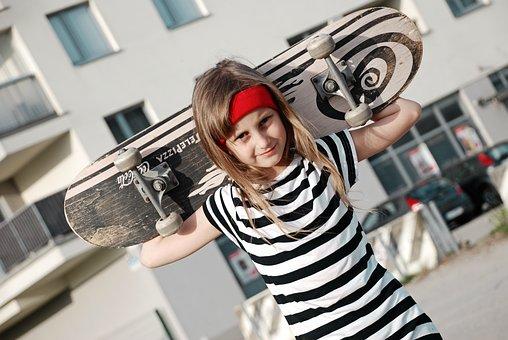 Girl, Wheels, Skateboard, Sports, Road, Skate, Posture