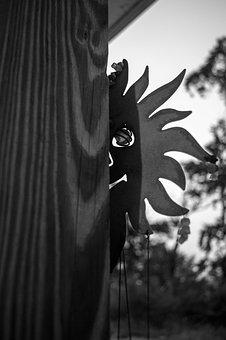 Sun, Black And White, Wind Chime, Grayscale, Creepy