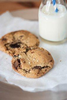 Chocolate Chip, Cookies, Milk, Baking, Dessert, Sweets