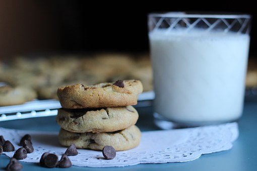 Chocolate, Chip, Cookie, Dessert, Milk, Bake, Rustic