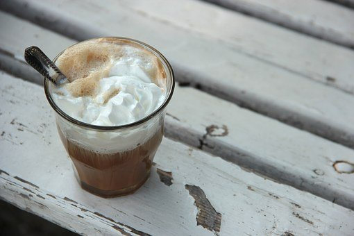 Coffee, Whipped Cream, Cream, White, Glass, Cup, Drink