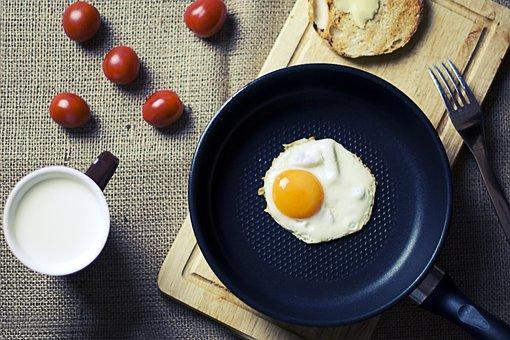 Breakfast, Eggs, Pan, Cutting Board, Bread, Fork, Food