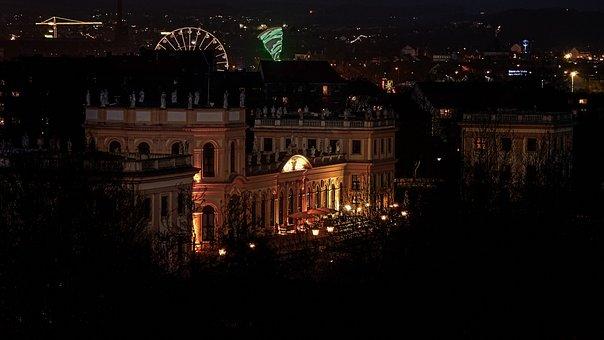 Kassel, Night Photograph, Yellow, Old, Orangery