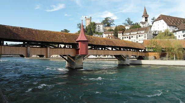 Lucerne, Spreuer Bridge, Bridge, Water