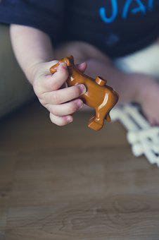 Child, Play, Cow, Miniature, Children, Toys, Cheerful
