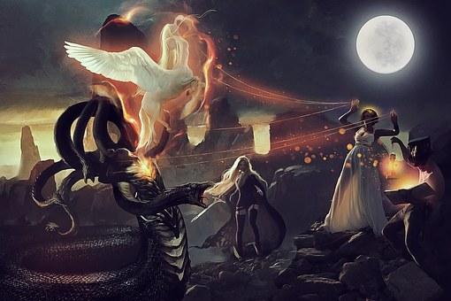Medusa, Pegasus, Athena, Perseus, 7so0o, Moon, Night