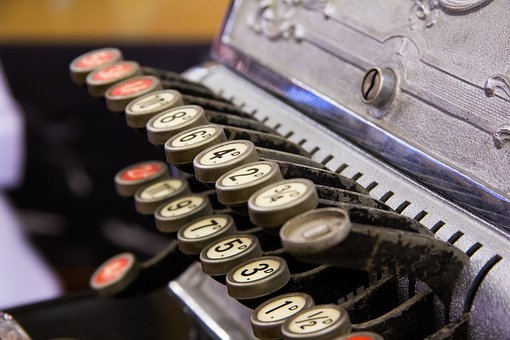 Cash Register, Keys, Numbers, Vintage, Antique, Details