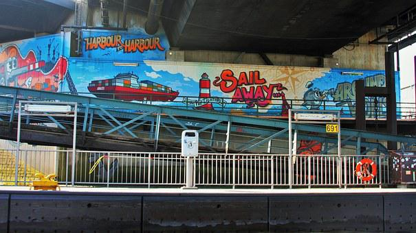 Graffiti In Harbor, Painting, Cheesy, Creative, Color