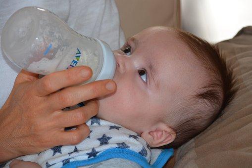 Baby, Young, People, Plush, Boy, Child, Milk, Bottle