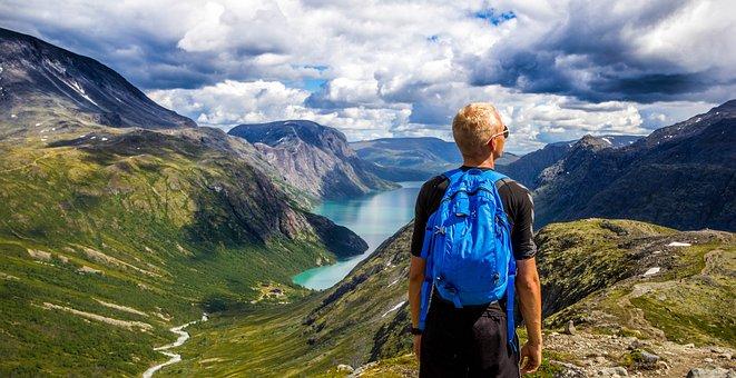 Norway, Mountain, Sky, Blue, Water, People, Landscape
