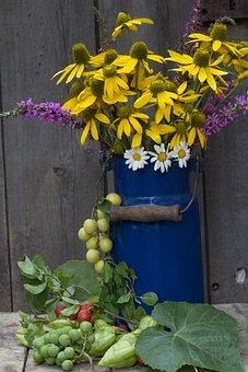 Still Life, Milk Can, Sun Hat, Grapes, Plums