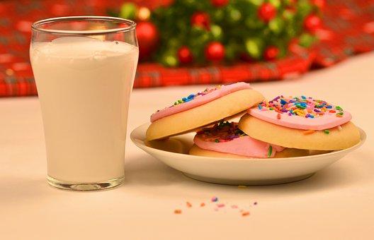 Christmas, Milk, Cookies, Santa, Festive, Snack