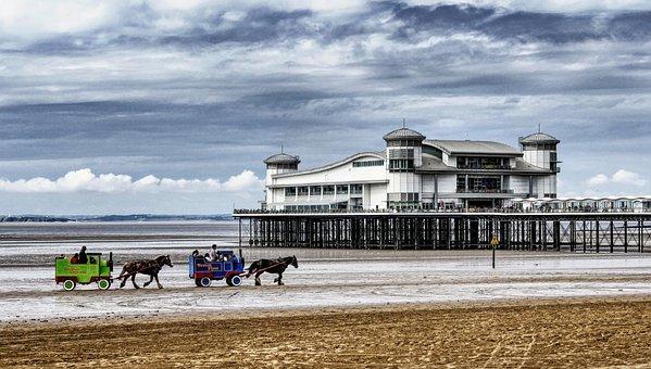 Weston-super-mare, Somerset, Coast, Sea, England
