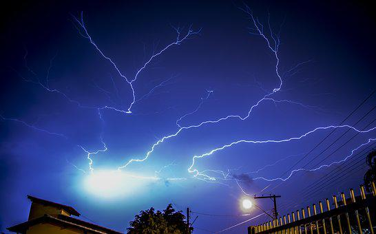 Sky, Thunderstorm, Storm, Rain, Nature, Lightning, Blue
