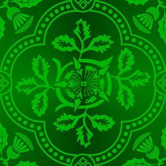 Tessellation, Cloister, Brocade, Green, Pattern
