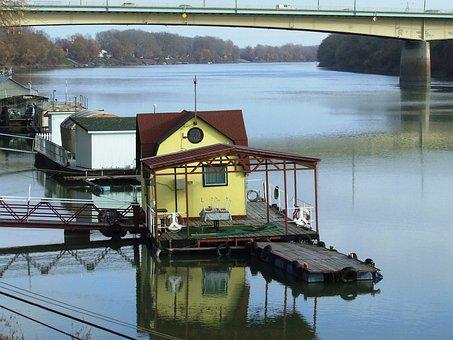 Szeged Hungary, Tisza, Floating House, Uptown Bridge