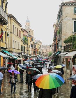 Venice, Umbrellas, It Rains, People, Via, Walk, City