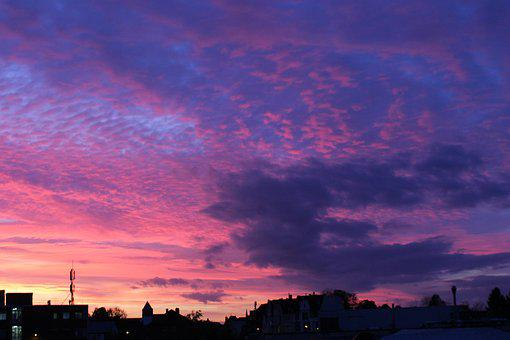 Sunset, Sky, Abendstimmung, Clouds, Afterglow, Sun