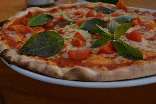 Pizza, Italy, Eat, Basil, Tomatoes, Cheese, Lunch