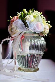 Bridal Bouquet, Bouquet, Romantic, Vase, Flower Vase