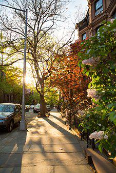 City, Street, Evening, Sun, City Street, Building