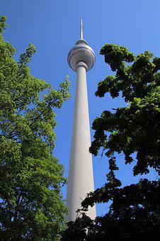Tv Tower, Leaves, Tree, Berlin, Alexanderplatz, Capital