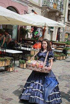 Girl, Saleswoman, Ukraine, Lviv, City Centre, Old Town