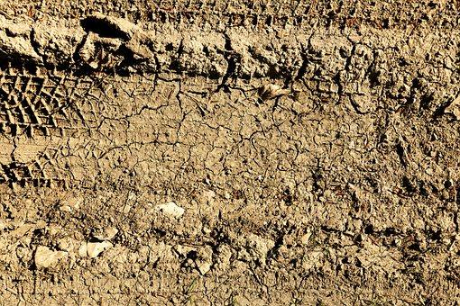 Lane, Earth, Dry, Cracks, Cracked, Tire Tracks, Traces