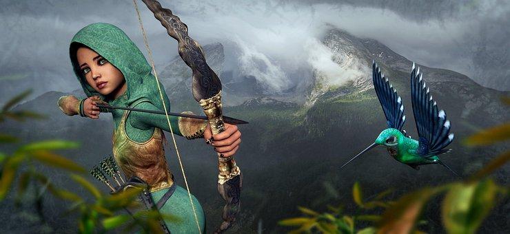 Fantasy, Archer, Hummingbird, Girl, Mountains, Arrow
