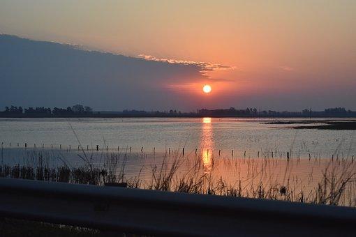 River, Lake, Sunset, Landscape, Water, Reflection