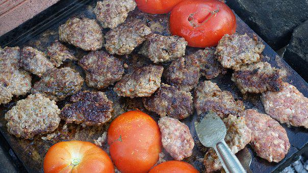 Barbecue, Meatballs, Grill, Tomato, Embers, Meat