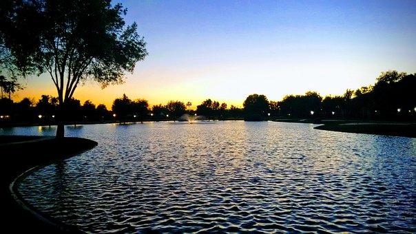 Lake, Pond, Sunset, Nature, Reflection, Peaceful