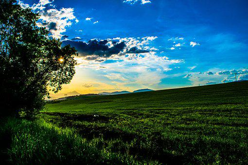 Sun, Sunset, Orange Sky, Heaven, Blue Sky, Clouds