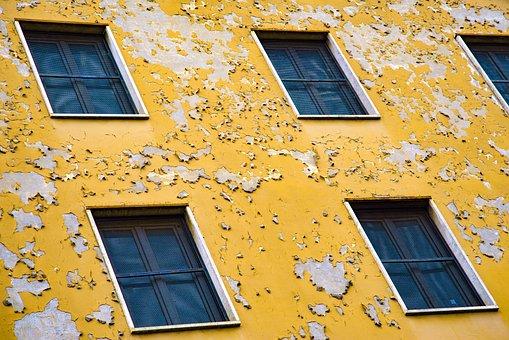 Facade, Architecture, Building, Paint, Chipped Paint