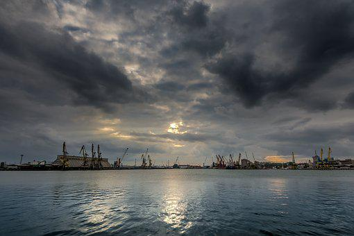 Port Burgas, Port, Dramatic Sky, Sunset, Sea, Burgas